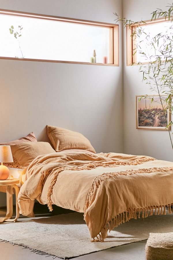 Slide View: 1: Luna Fringe Washed Slub Duvet Cover
