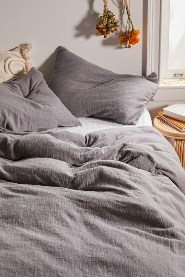Slide View: 3: Washed Cotton Slub Duvet Cover
