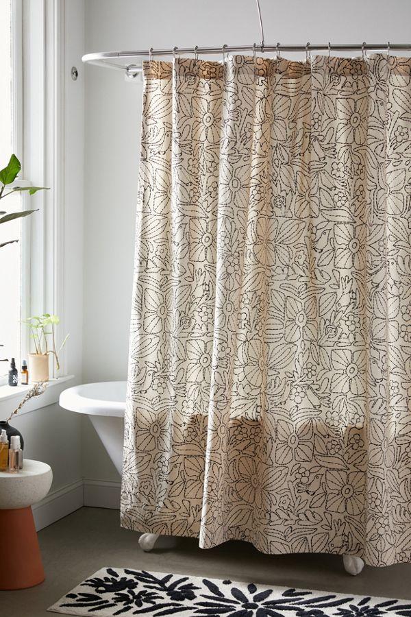 Slide View: 1: Kacy Floral Stitch Print Shower Curtain