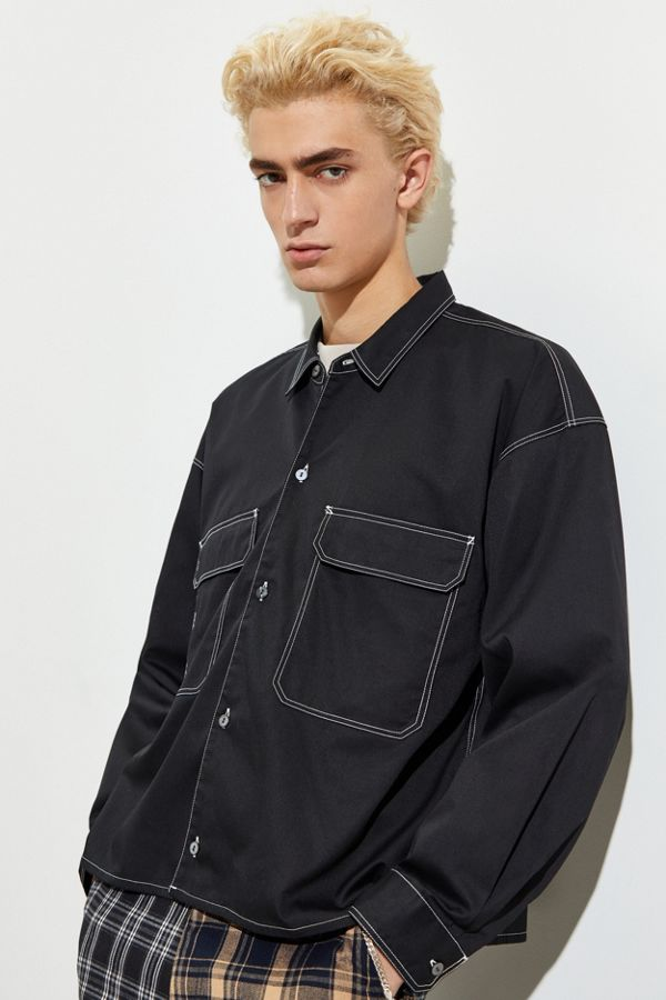 Monkey Time Twill Cropped Button Down Work Shirt by Monkey Time
