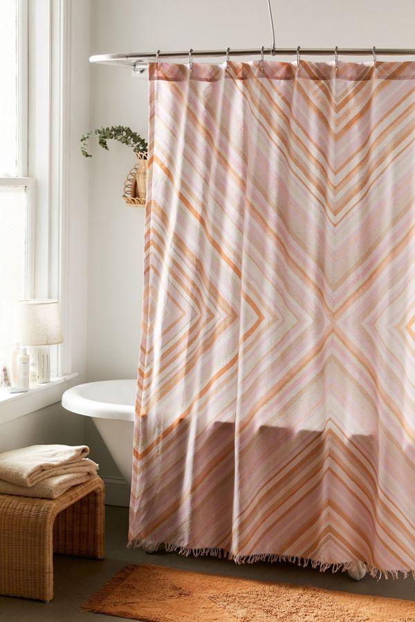 Slide View: 1: Sabrina Fringed Shower Curtain