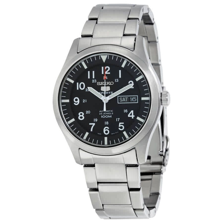 Seiko 5 Automatic Black Dial Stainless Steel Men S Watch Snzg13