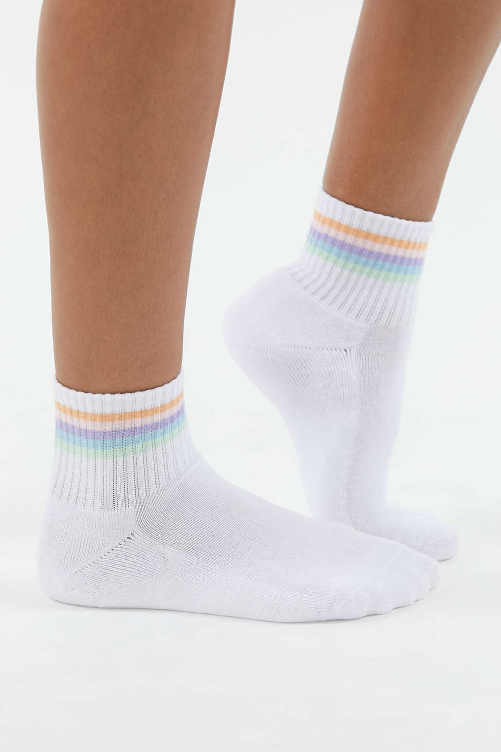 Rainbow Striped Quarter Sock   Urban Outfitters