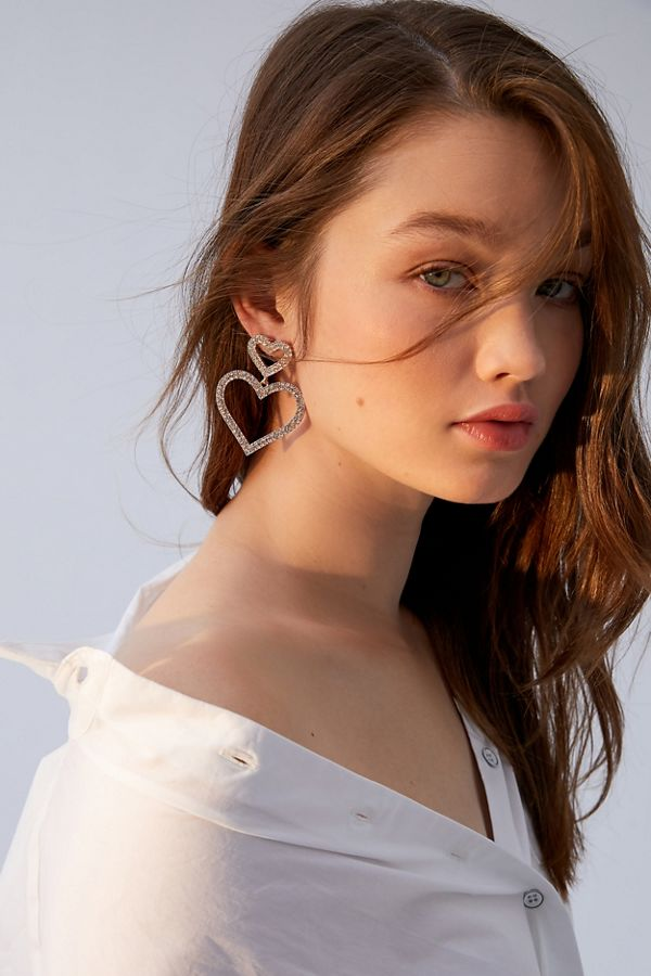 Rhinestone Heart Statement Earring by Urban Outfitters