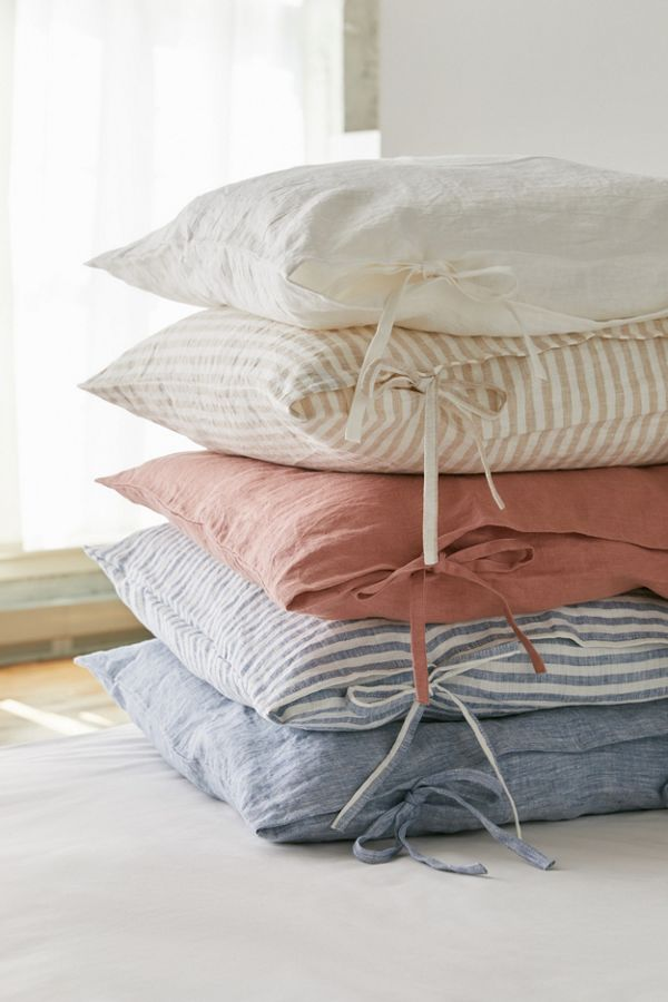 Slide View: 1: MagicLinen Skinny Ties Throw Pillow Cover