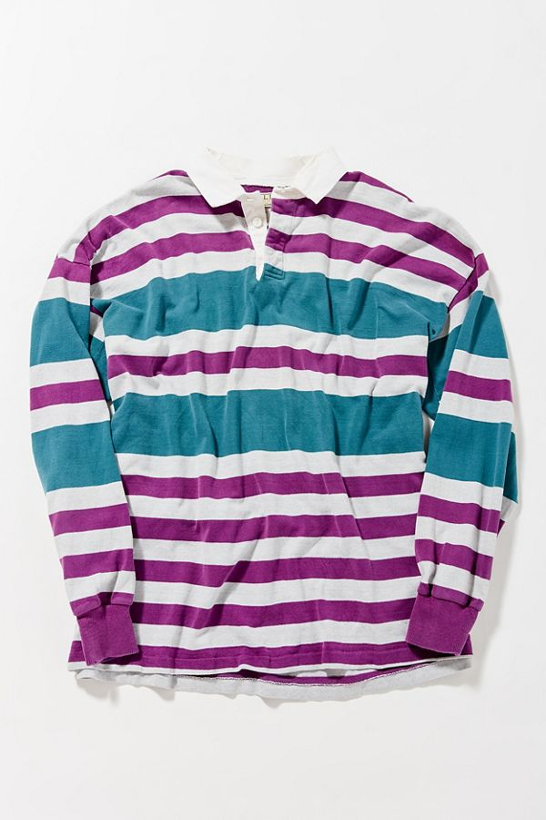 Vintage L Bean Purple Stripe Rugby Shirt