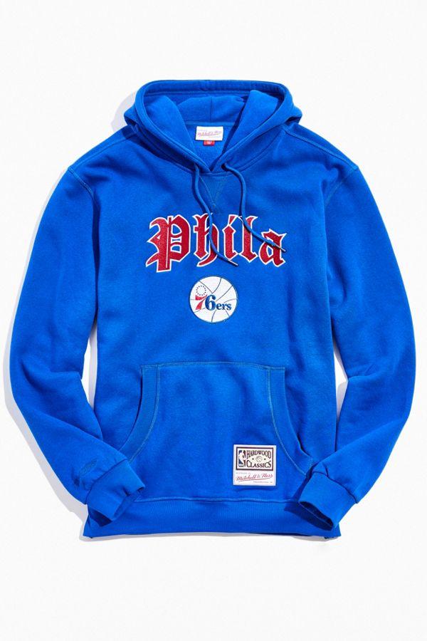 united kingdom delicate colors really cheap Mitchell & Ness Old English Philadelphia 76ers Hoodie Sweatshirt ...