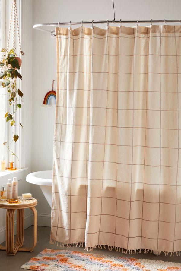 Slide View: 1: Grid Shower Curtain