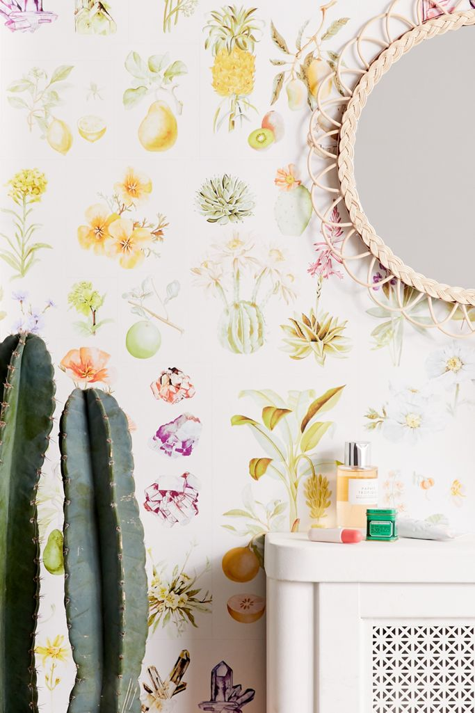 Botanical Chart Removable Wallpaper Urban Outfitters