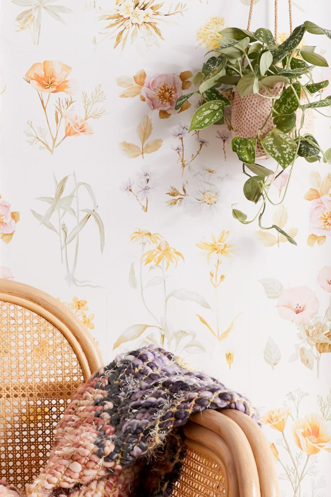 Botanical Flowers Removable Wallpaper Urban Outfitters