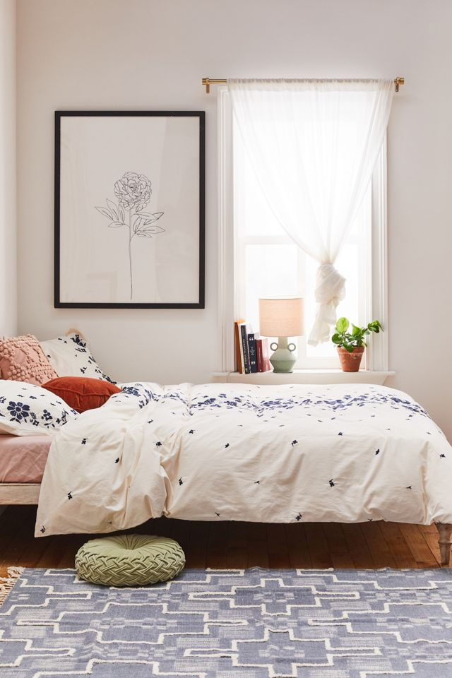 Samantha Embroidered Floral Duvet Cover Urban Outfitters