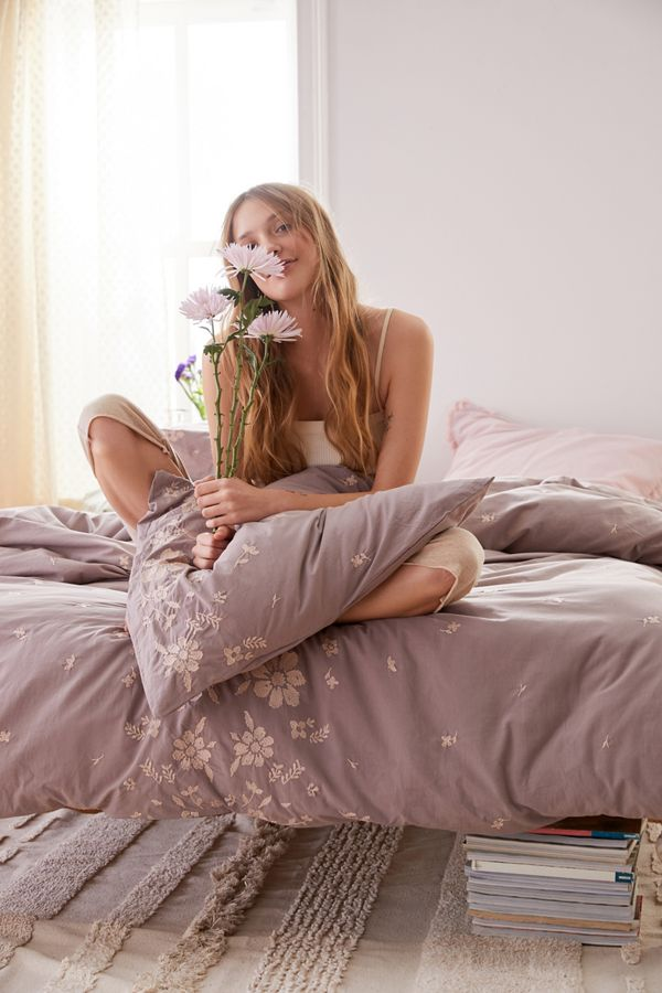 Slide View: 1: Samantha Embroidered Floral Duvet Cover