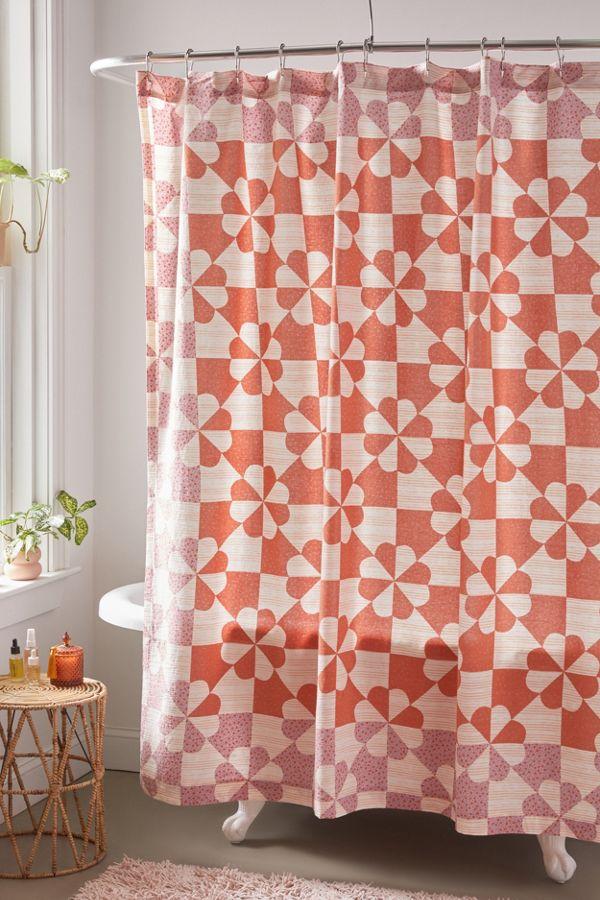 Slide View: 1: Puck Patchwork Print Shower Curtain