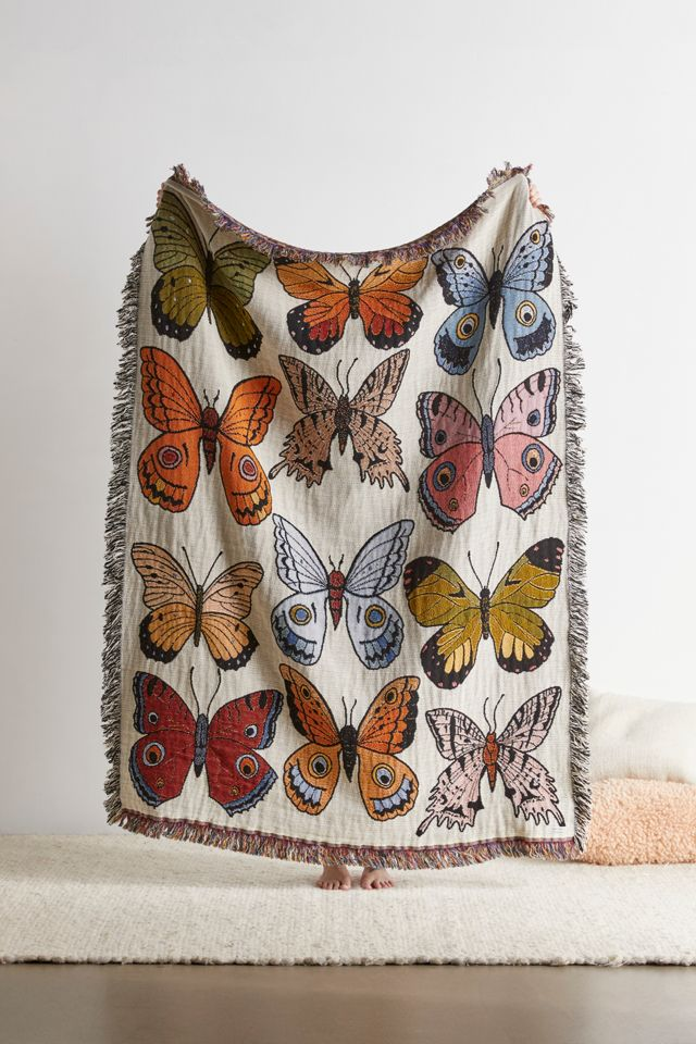 Calhoun Co Butterfly And Moth Woven Throw Blanket Urban Outfitters