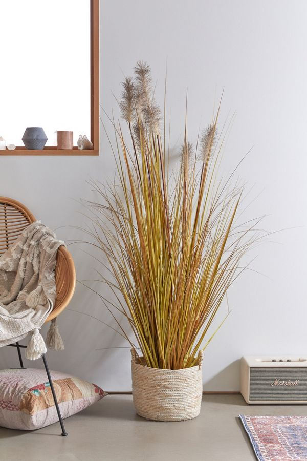 Slide View: 1: Pampas Grass Potted Faux Plant