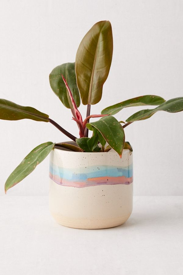 "Slide View: 1: Soft Stripe 4"" Ceramic Planter"