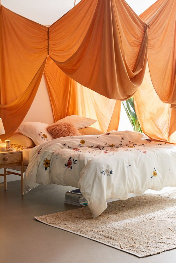 Slide View: 1: Blossom Embroidered Duvet Cover