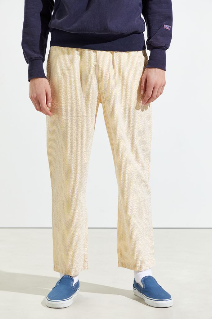 Uo Seersucker Cropped Beach Pant Urban Outfitters