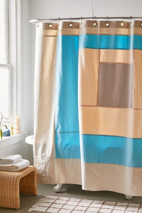 Slide View: 1: Quiet Town Marfa Colorblock Shower Curtain