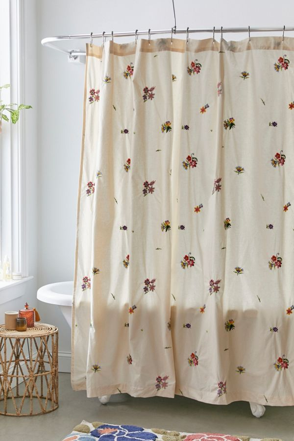 Slide View: 1: Georgine Embroidered Shower Curtain