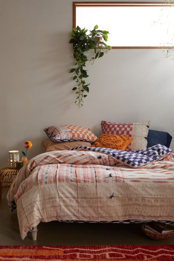 Slide View: 1: Gretta Mixed Print Duvet Cover