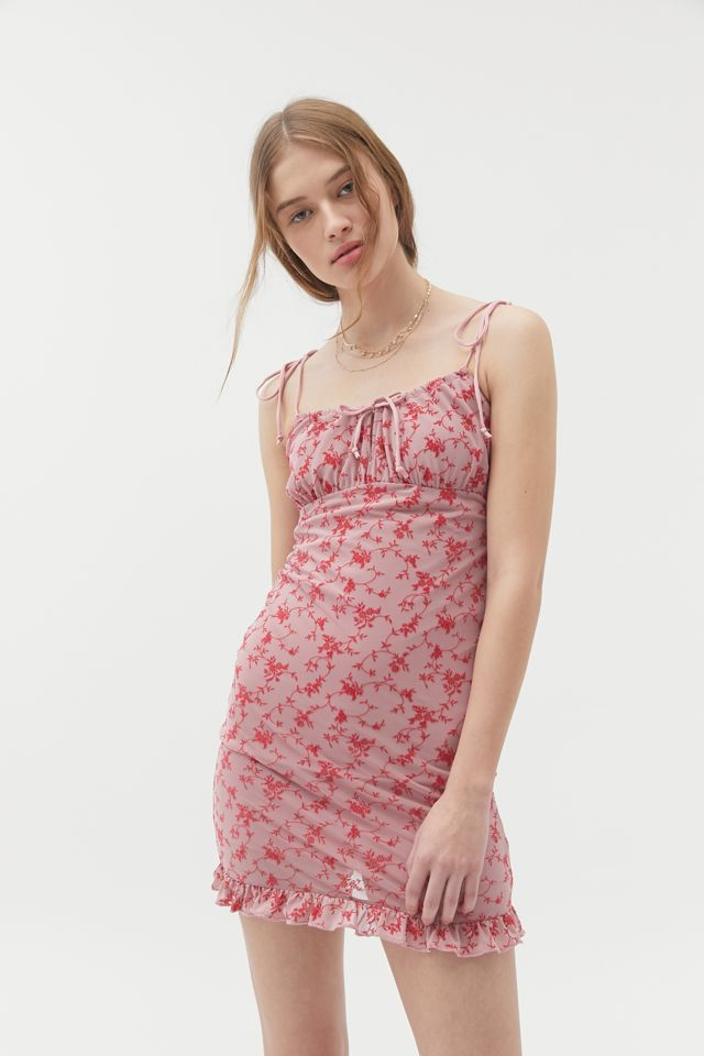 Motel Kariel Floral Tie-Front Mini Dress   Urban Outfitters