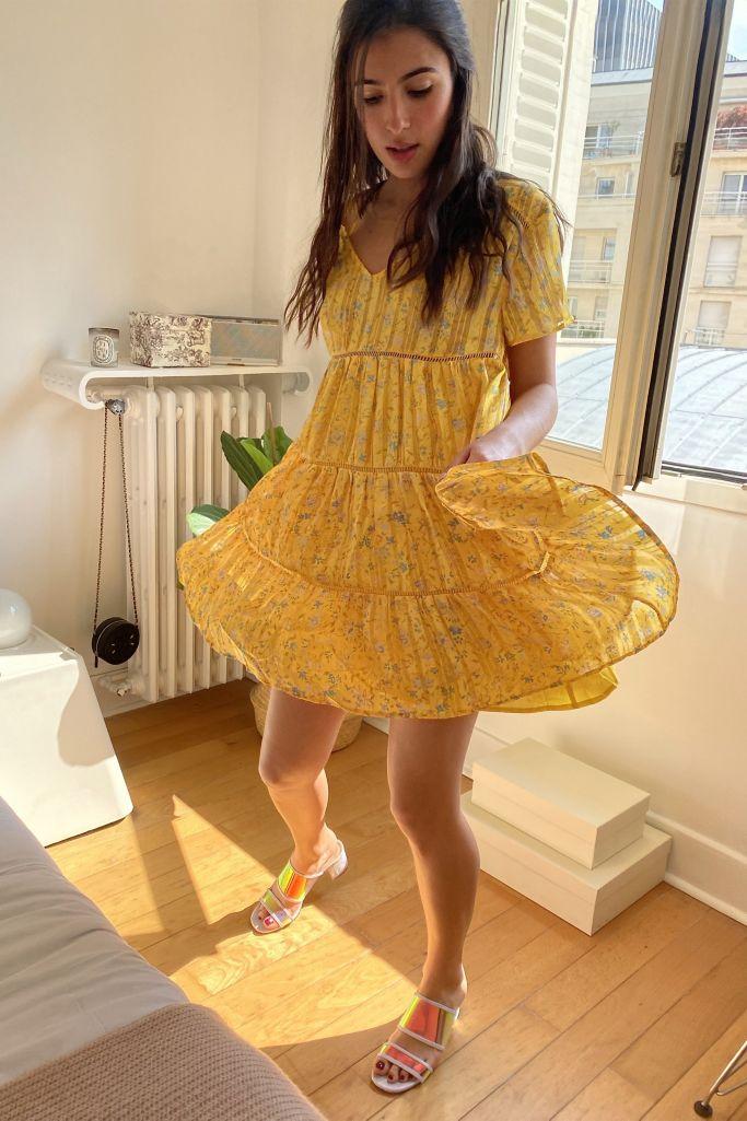 UO Pippa Chiffon Tiered Mini Dress