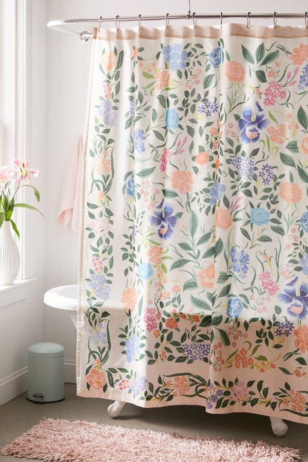 Slide View: 1: Jacinta Floral Shower Curtain