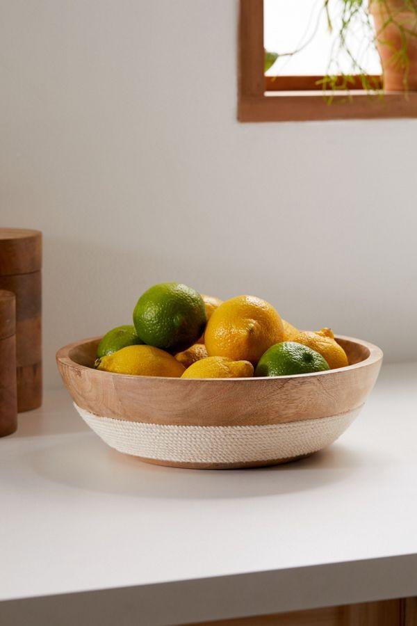 Slide View: 1: Woven Trim Mango Wood Serving Bowl