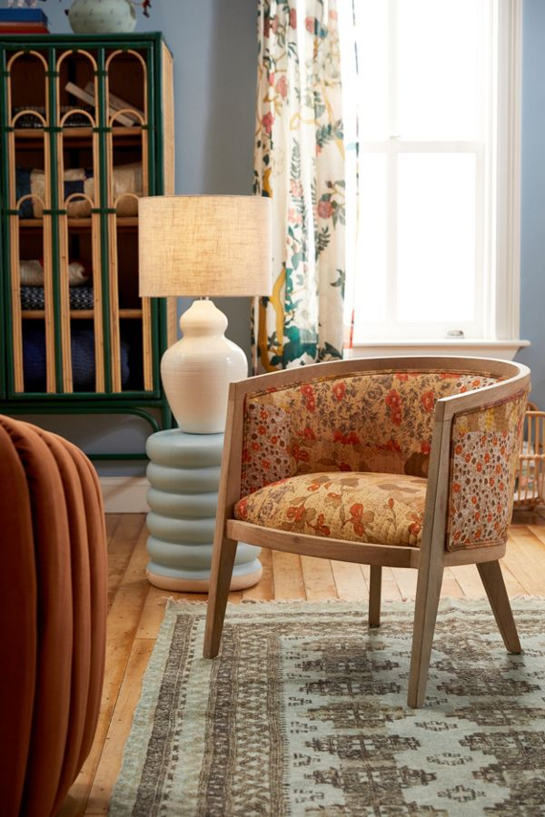 Slide View: 1: Mixed Floral Print Upholstered Chair