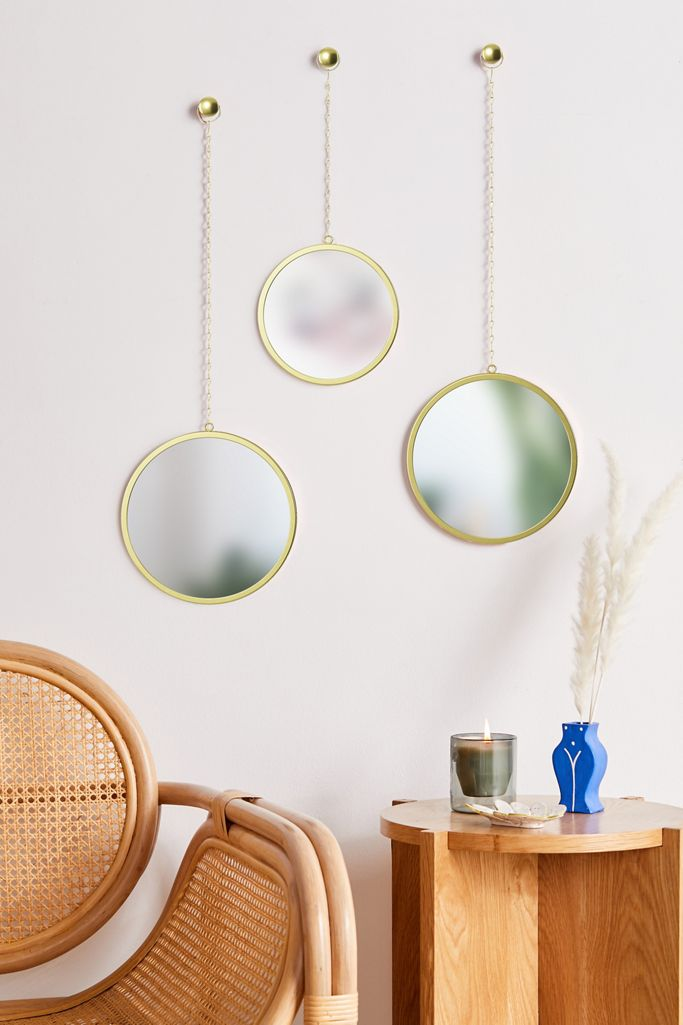 Round Hanging Wall Mirror Set Of 3 Urban Outfitters