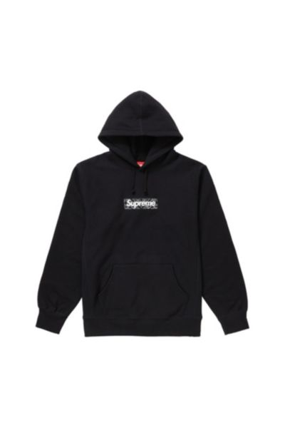 black and white supreme hoodie