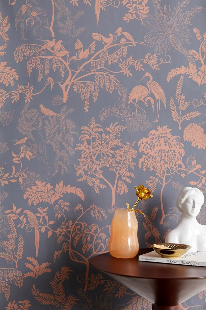 Birds In Trees Toile Removable Wallpaper Urban Outfitters