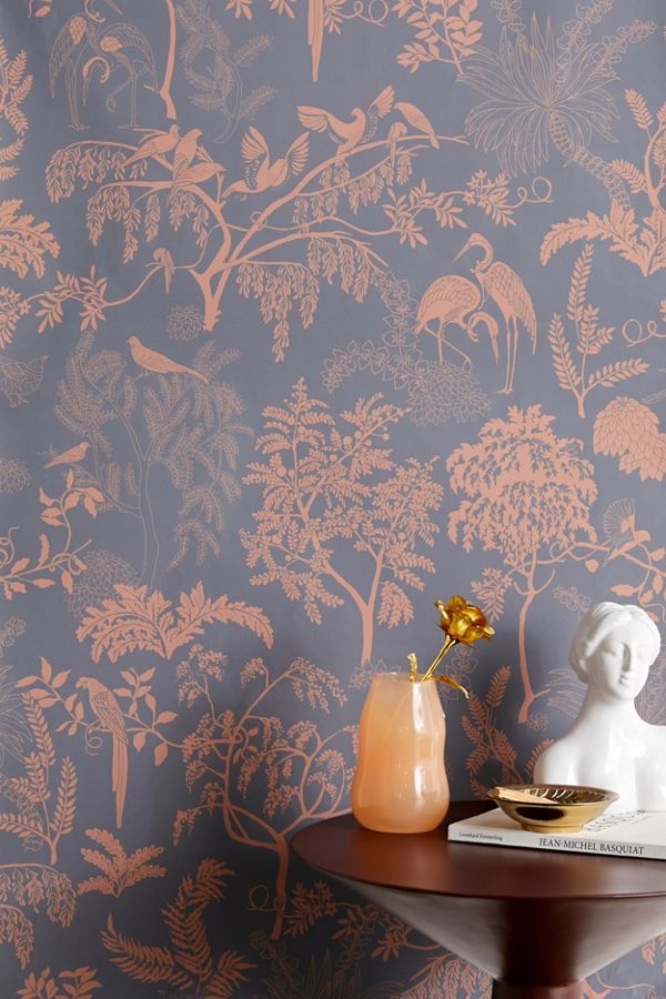 Slide View: 1: Birds In Trees Toile Removable Wallpaper