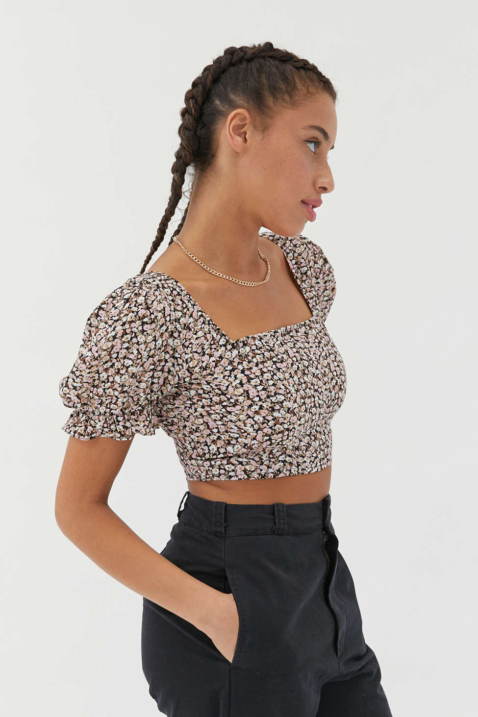 UO Mia Puff Sleeve Cropped Top   Urban Outfitters