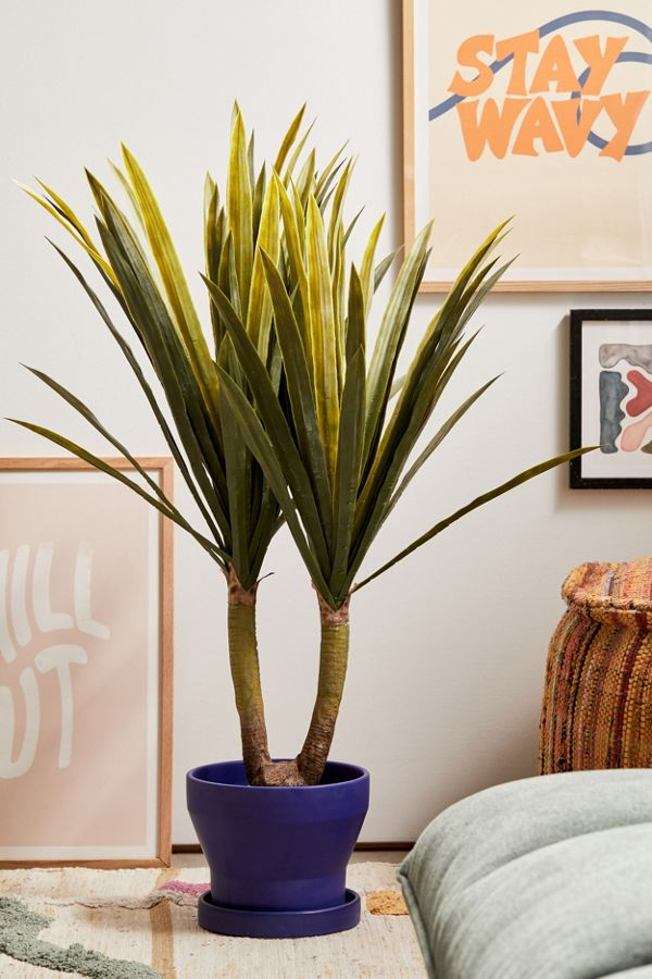 Slide View: 1: Potted Tropical Yucca Faux Plant