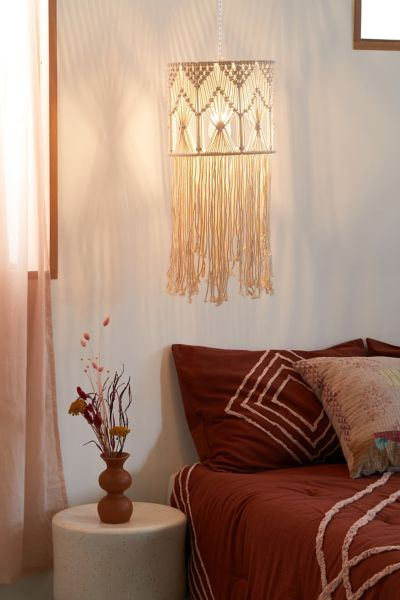 Macrame Fringed Drum Pendant Light Urban Outfitters