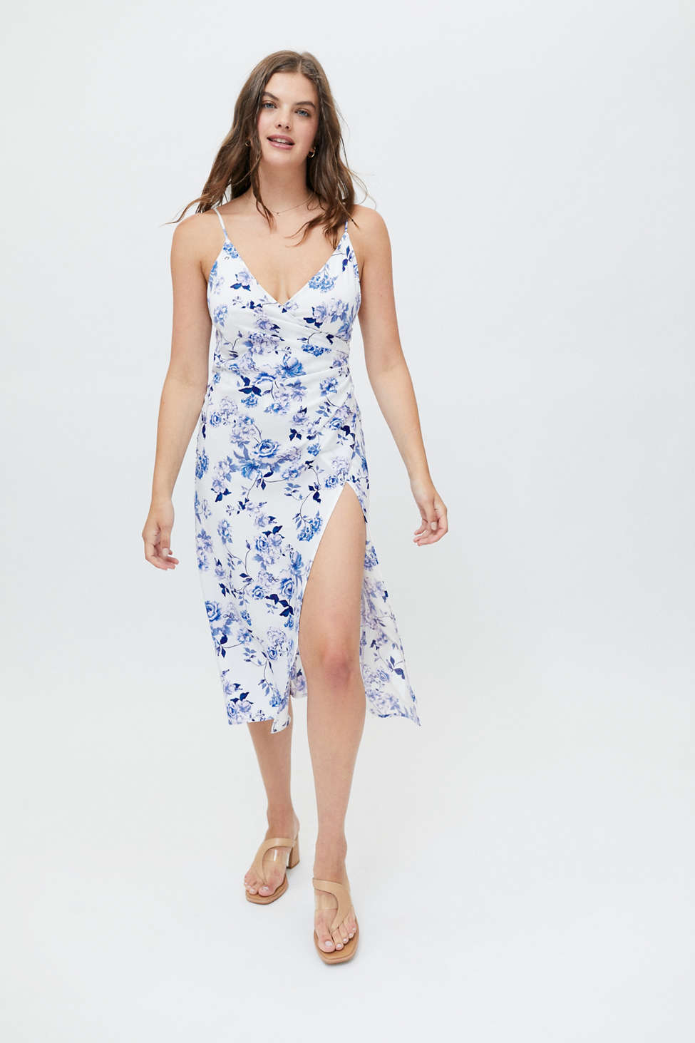 UO Lily Satin Wrap Midi Dress | Urban Outfitters