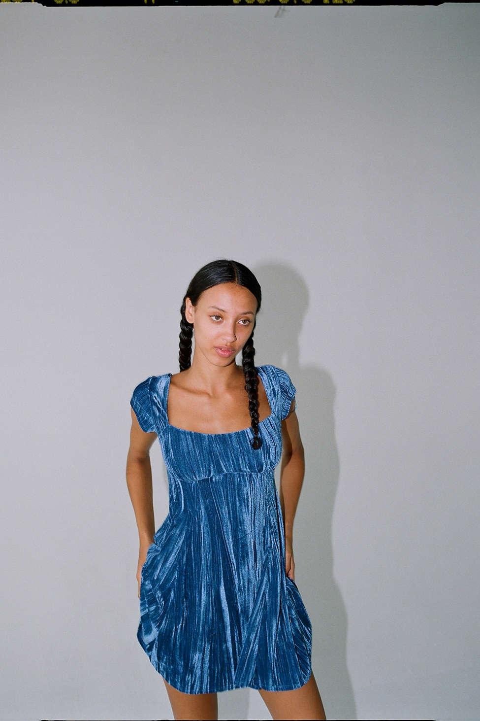 UO Uma Velvet Cap Sleeve Mini Dress | Urban Outfitters