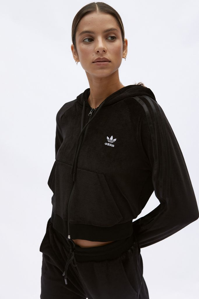 Pigmento Enlace Walter Cunningham  adidas Velour Zip-Up Hoodie Sweatshirt | Urban Outfitters