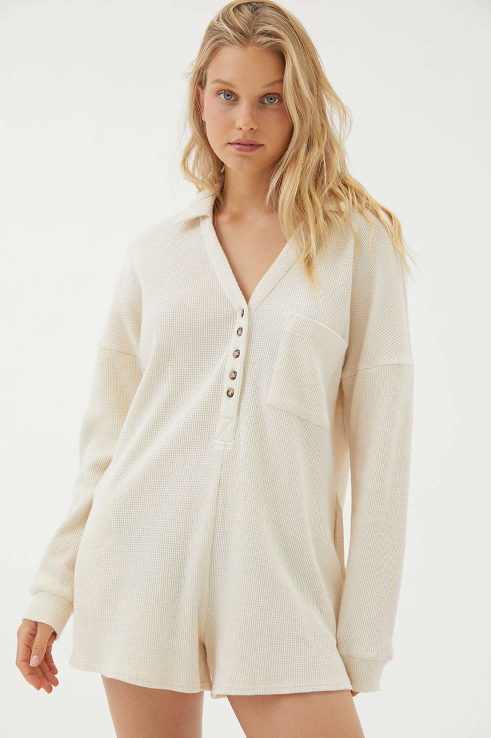 UO Cozy Thermal Long Sleeve Romper | Urban Outfitters