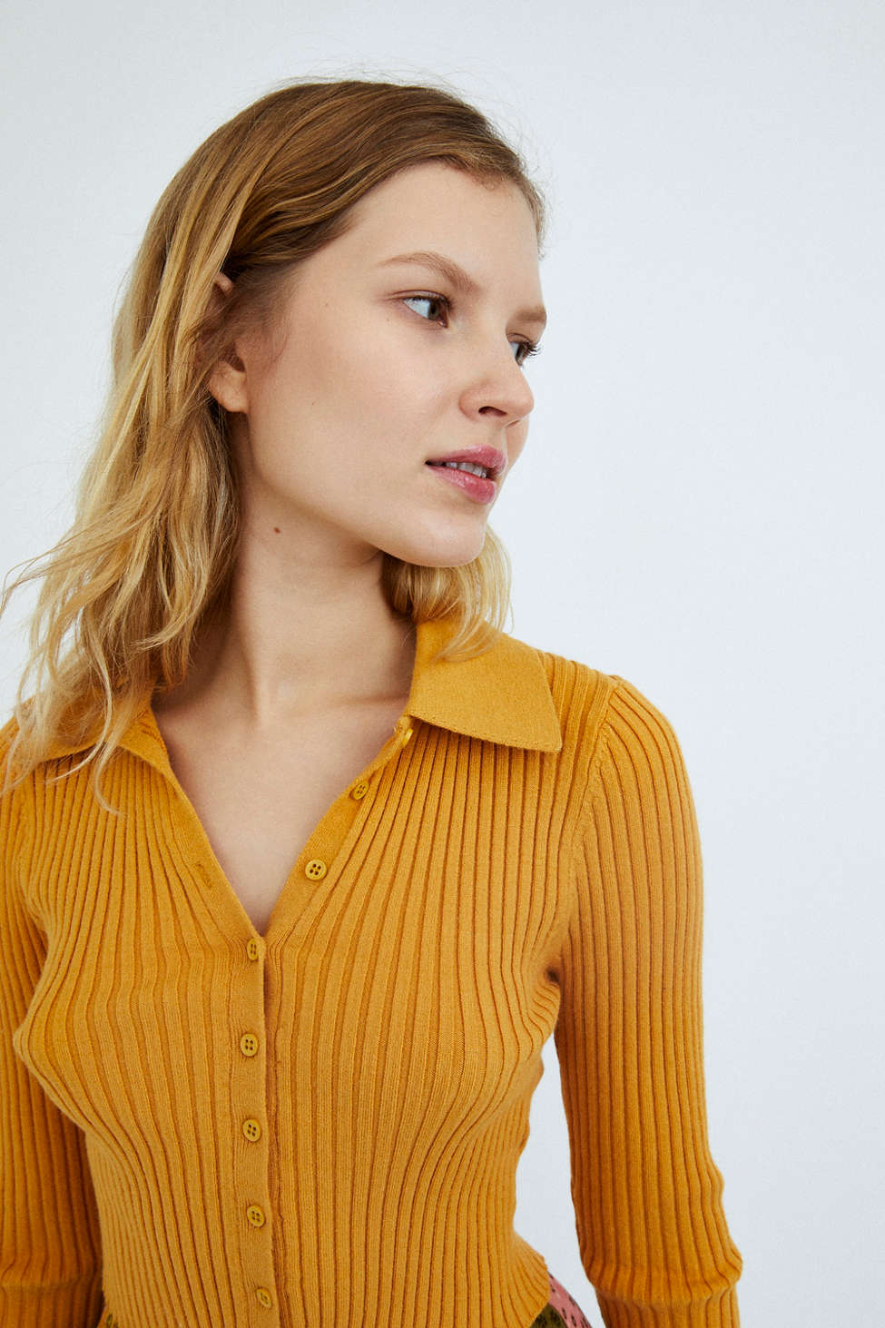 UO Skylar Ribbed Button-Front Cropped Sweater   Urban Outfitters
