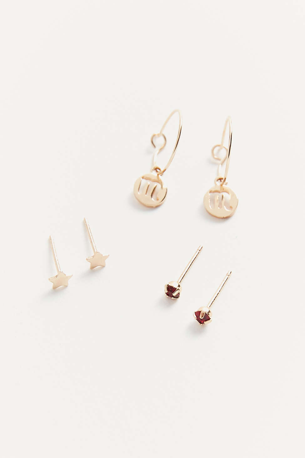 Zodiac Post And Charm Hoop Earring Set   Urban Outfitters