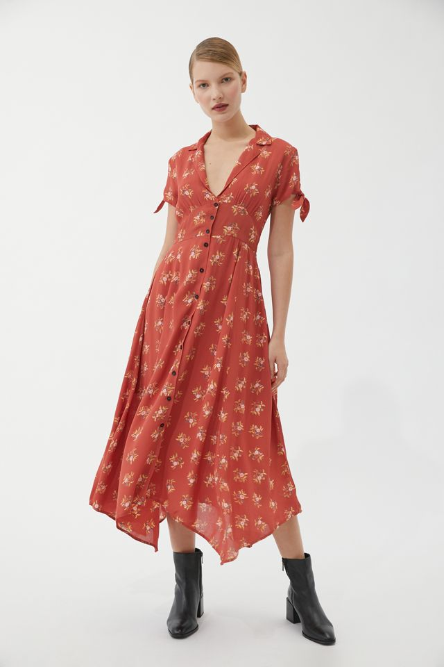 UO Elle Button-Through Midi Dress   Urban Outfitters