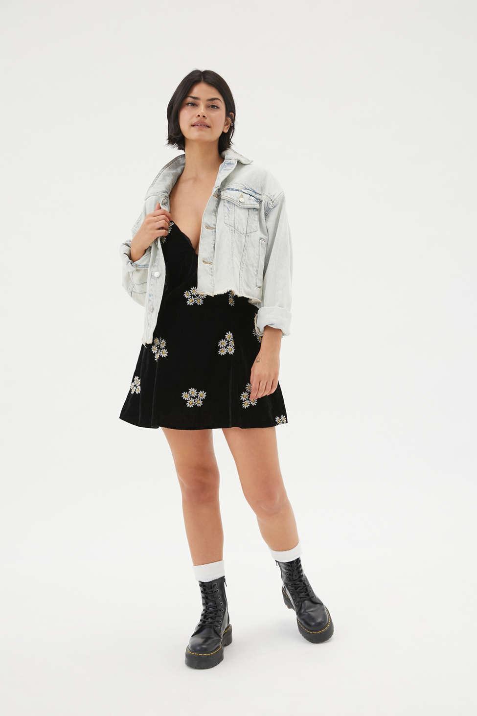 UO Ginger Velvet Embroidered Mini Dress | Urban Outfitters