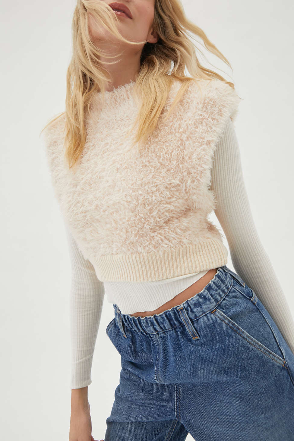 UO Archer Fuzzy Sweater Vest   Urban Outfitters