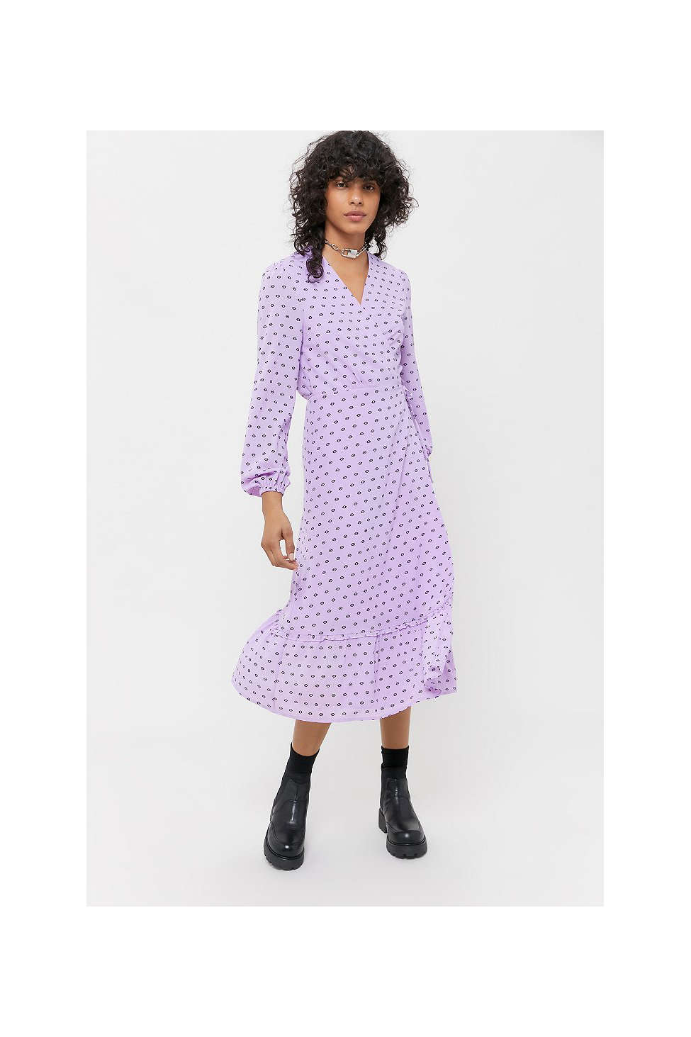UO Printed Midi Wrap Dress   Urban Outfitters