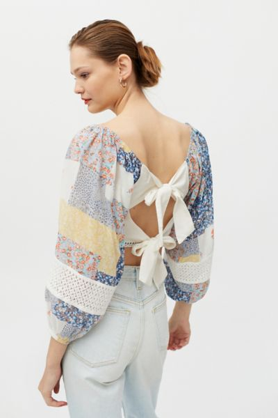 Urban Outfitters UO Issa Embroidered Patchwork Blouse