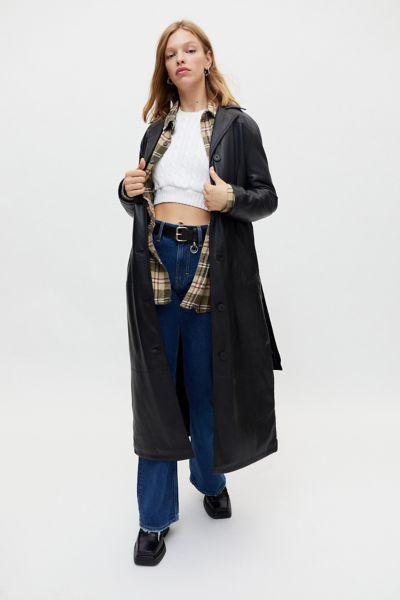 어반 아웃피터스 트렌치 코트 Urban Outfitters UO Luna Faux Leather Trench Coat,Black
