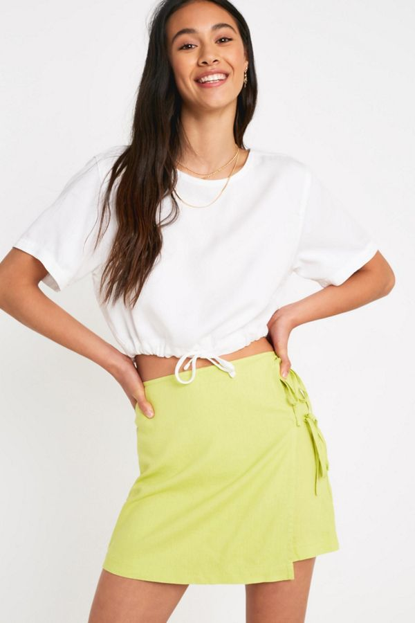 5243c1fa90 UO Lime Linen Wrap Mini Skirt | Urban Outfitters